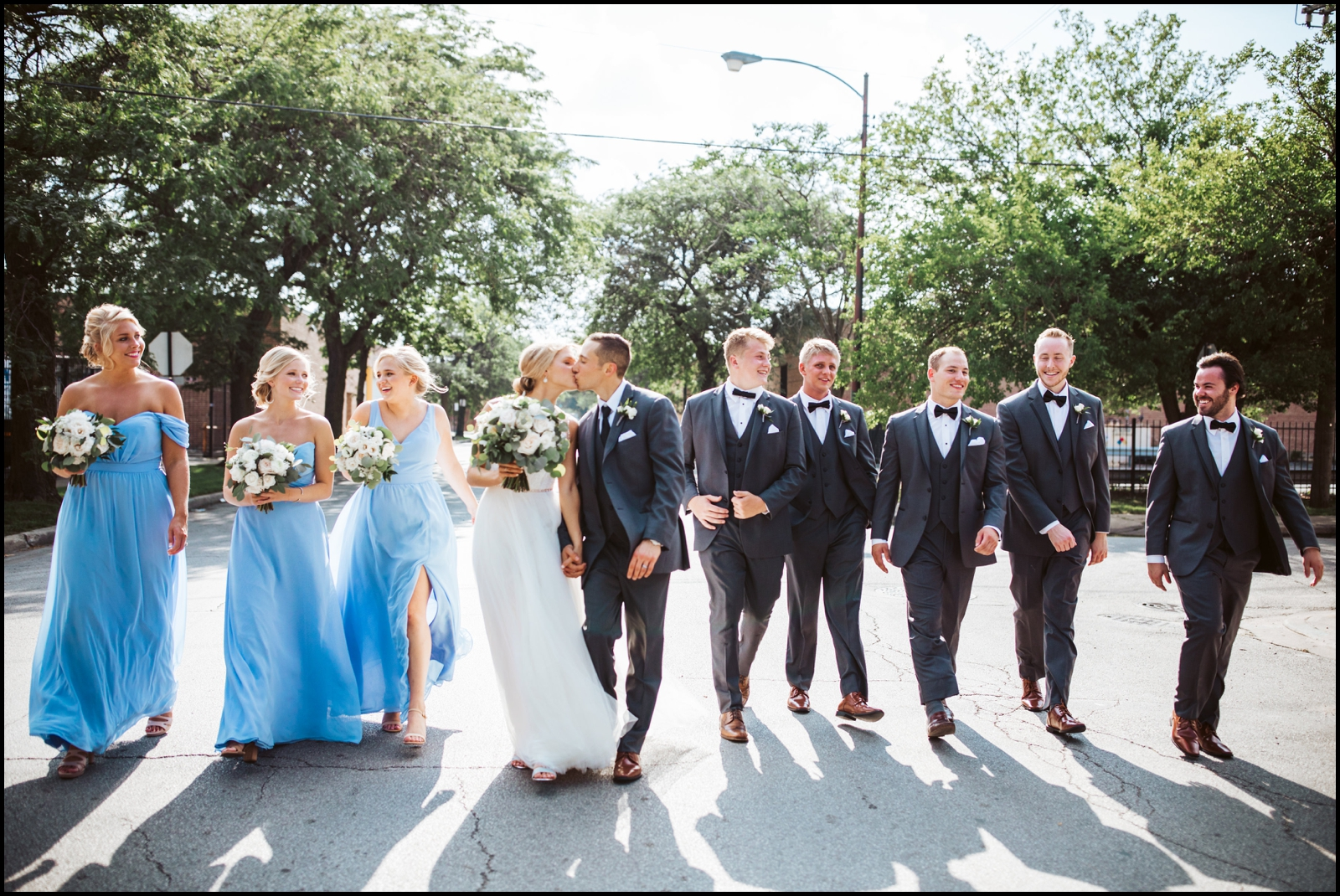 Bridal party with the couple