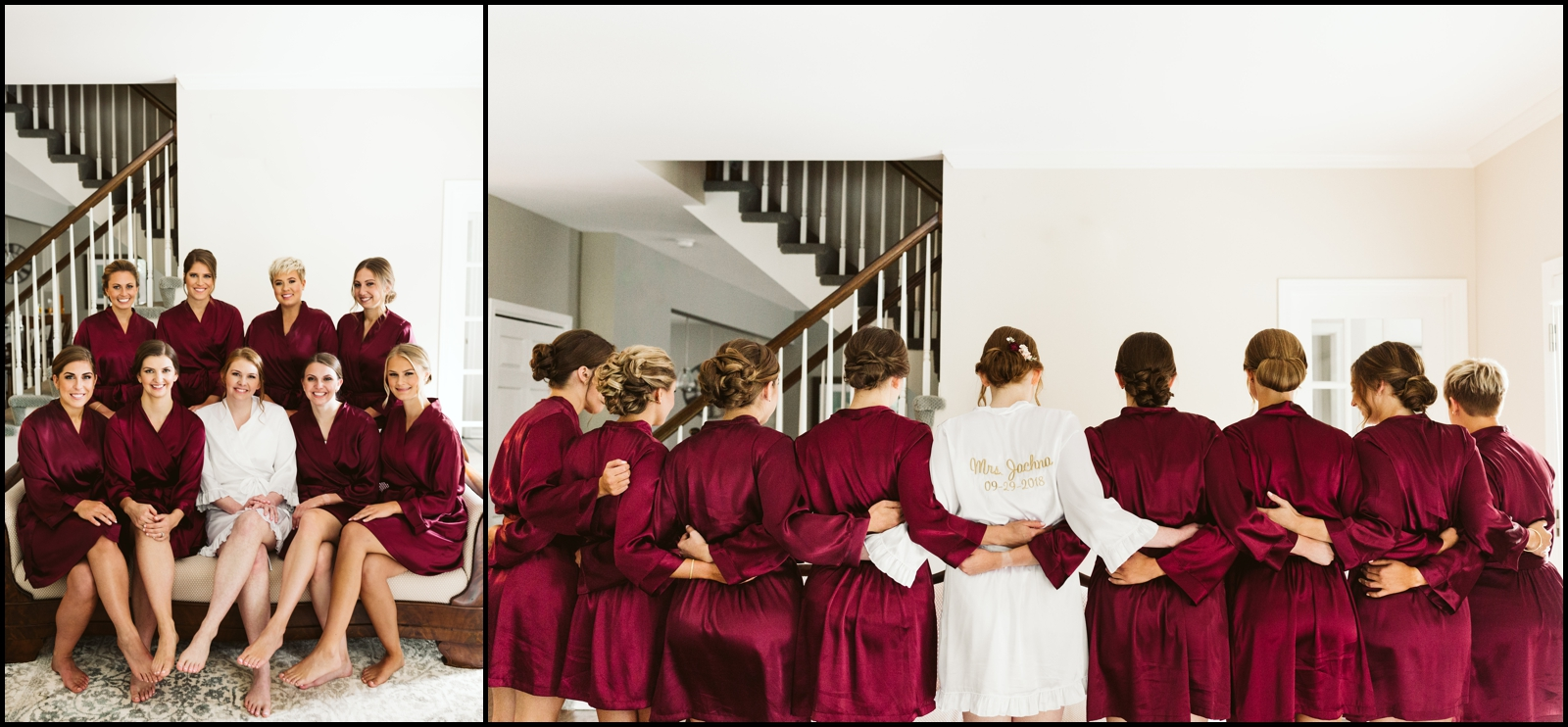 Bridesmaids and bride with robes