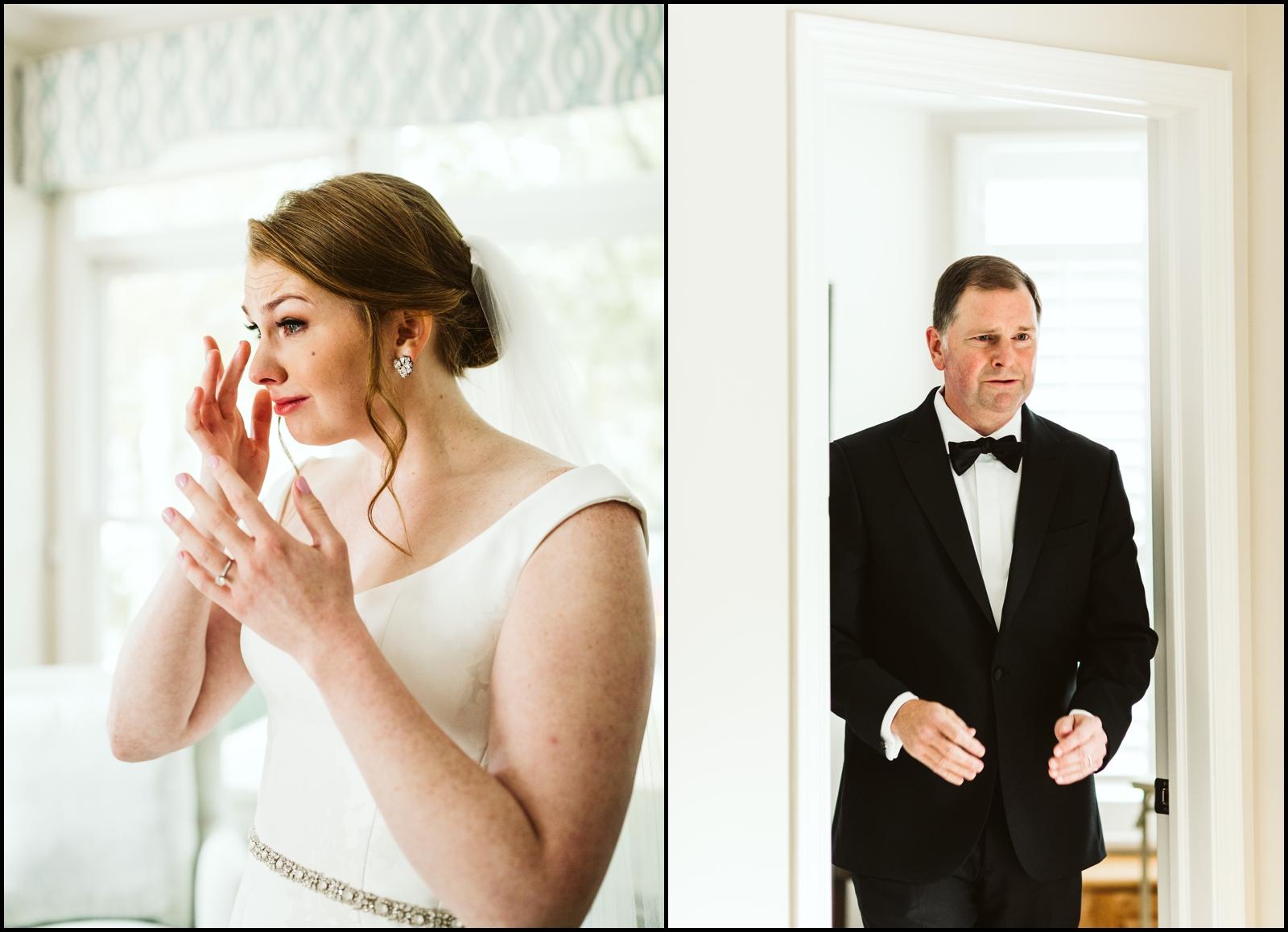 Bride tearing up