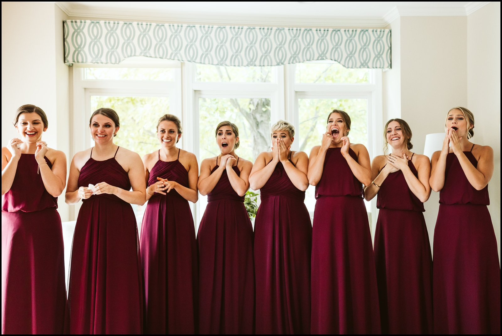 Bridesmaids waiting to see the bride