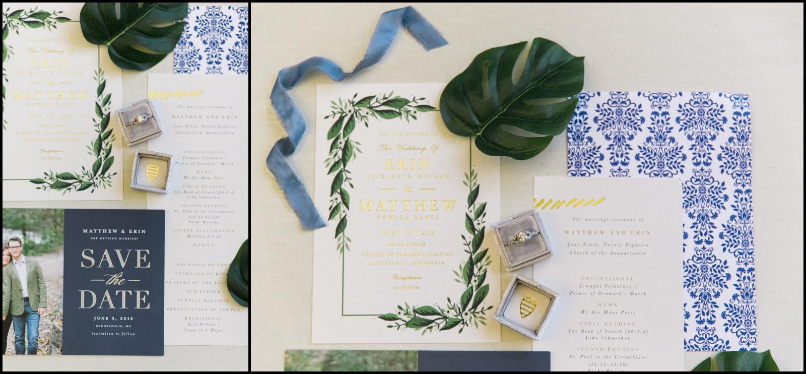 Wedding invitation and wedding rings
