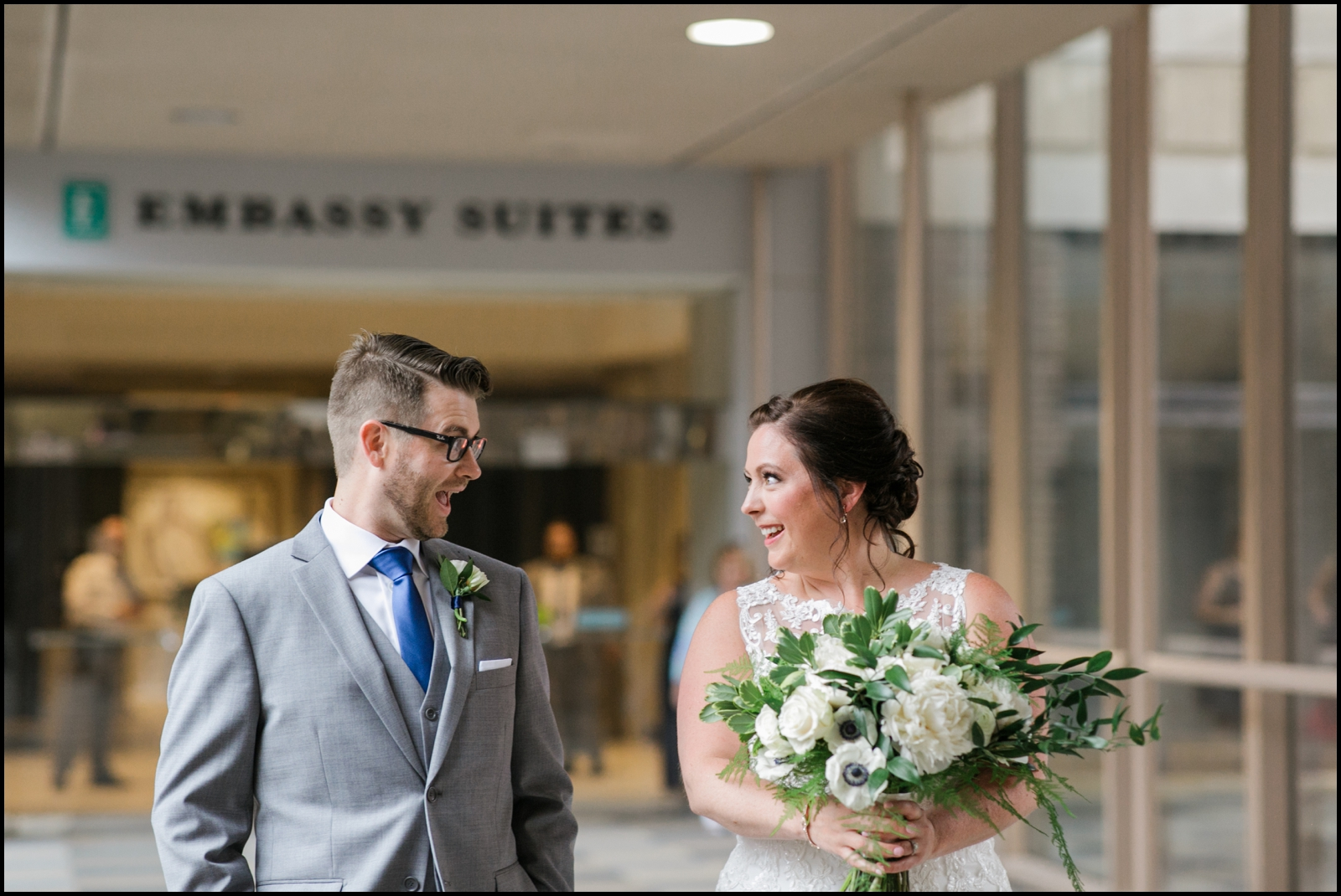 Bride and groom's first look