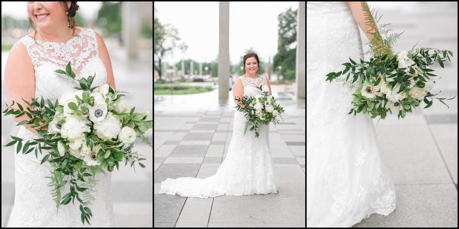 Bride wedding dress and bridal bouquet