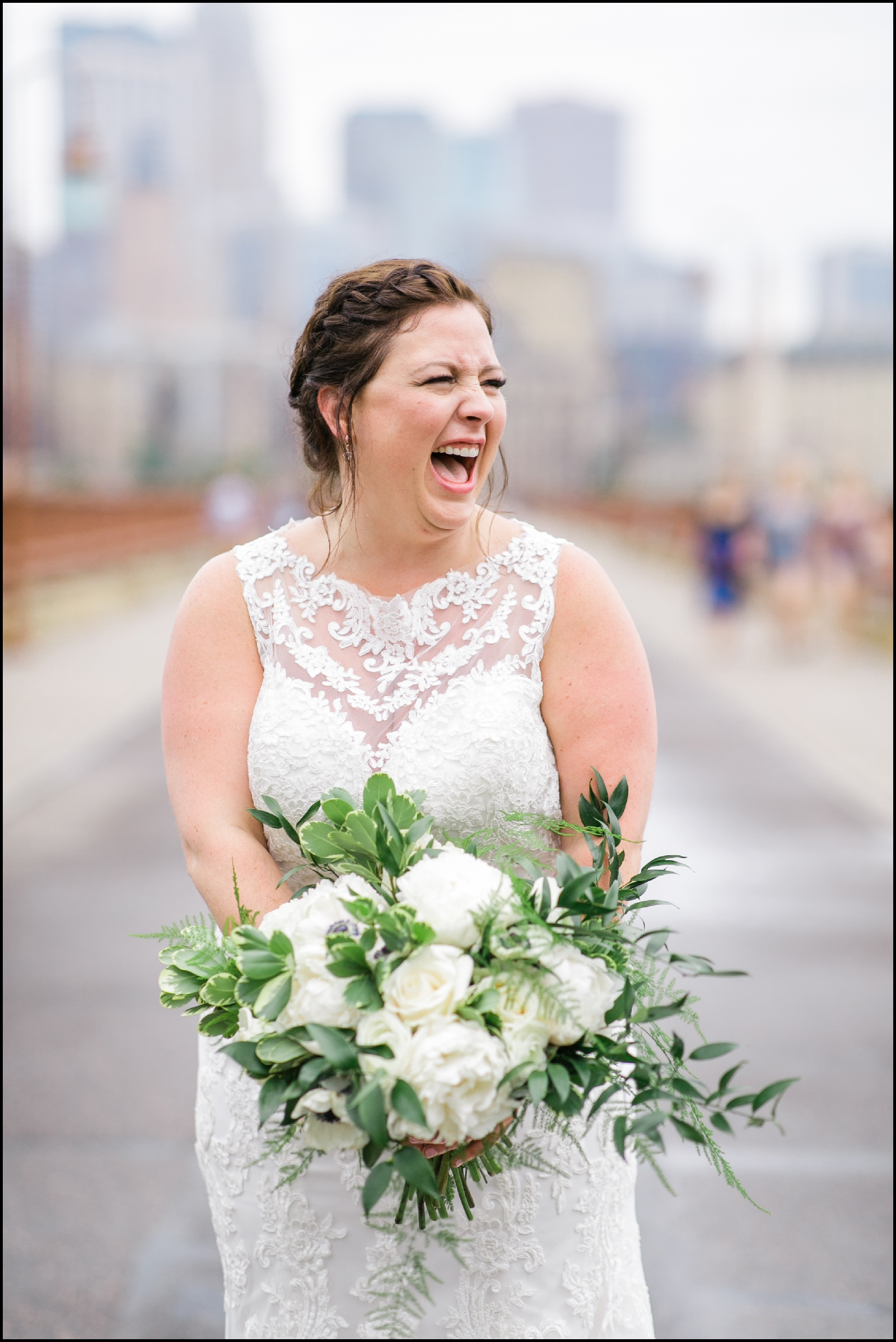 Bride laughing in mpls