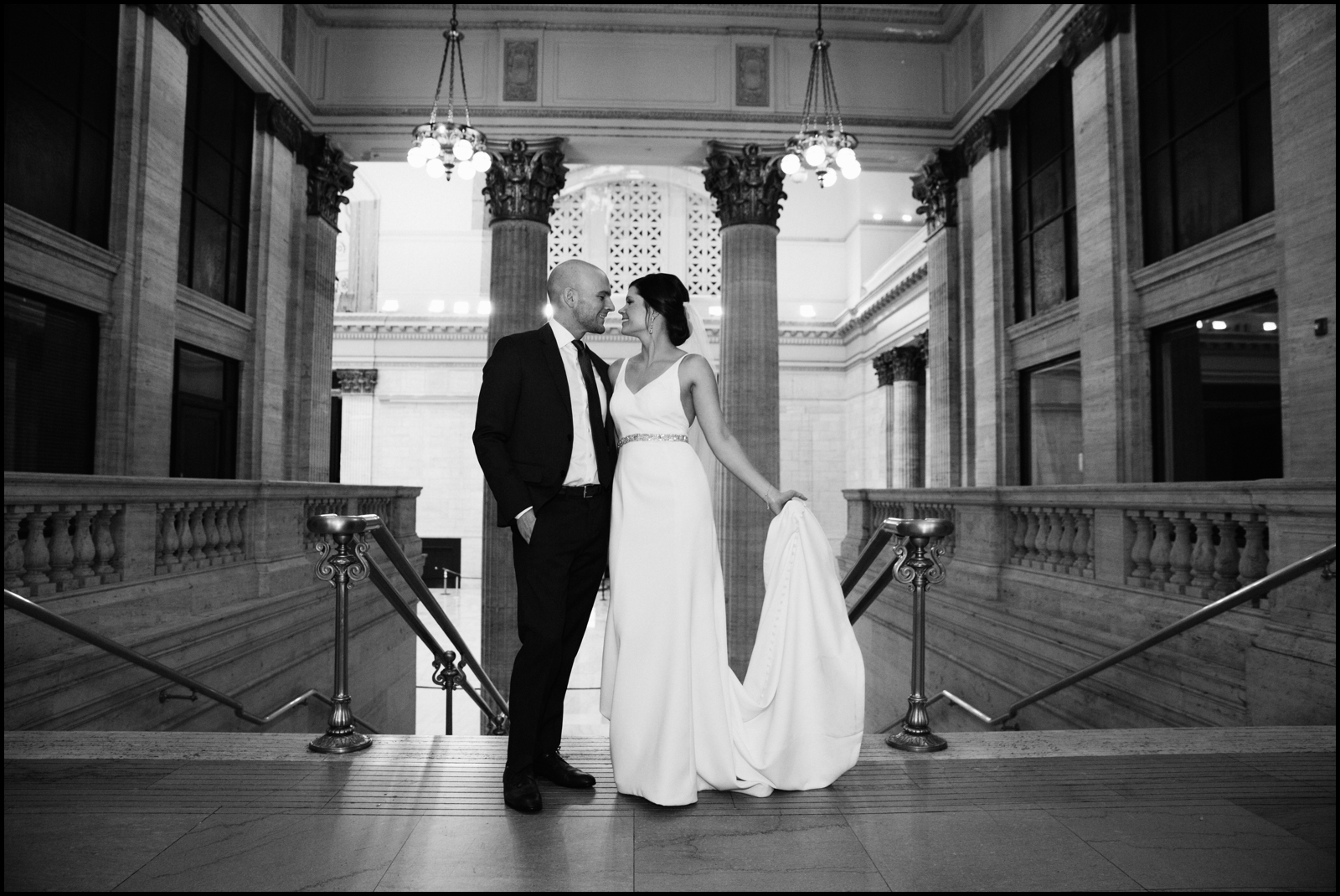 Bride and groom at their Chicago wedding