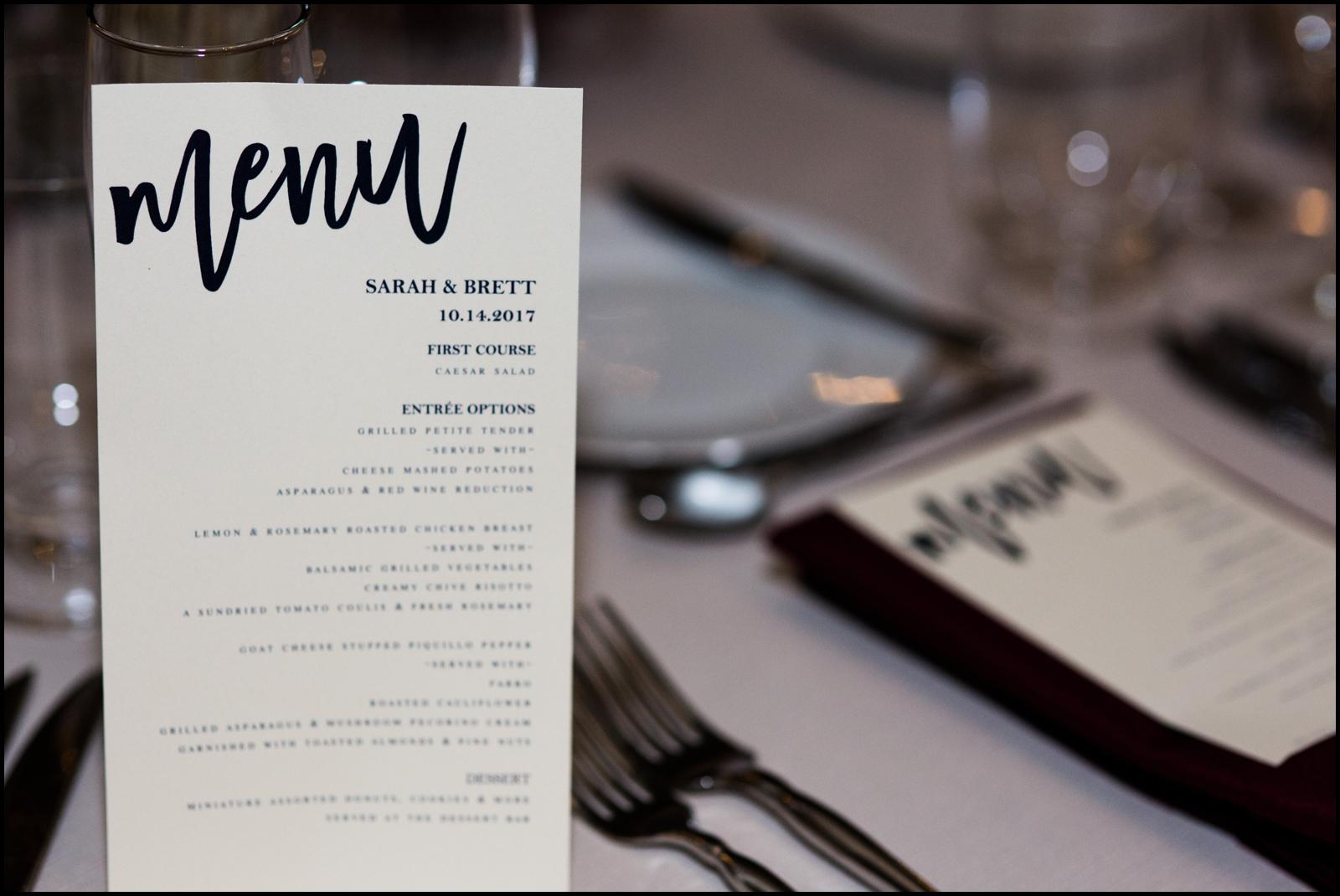 Menu for Wedding Reception