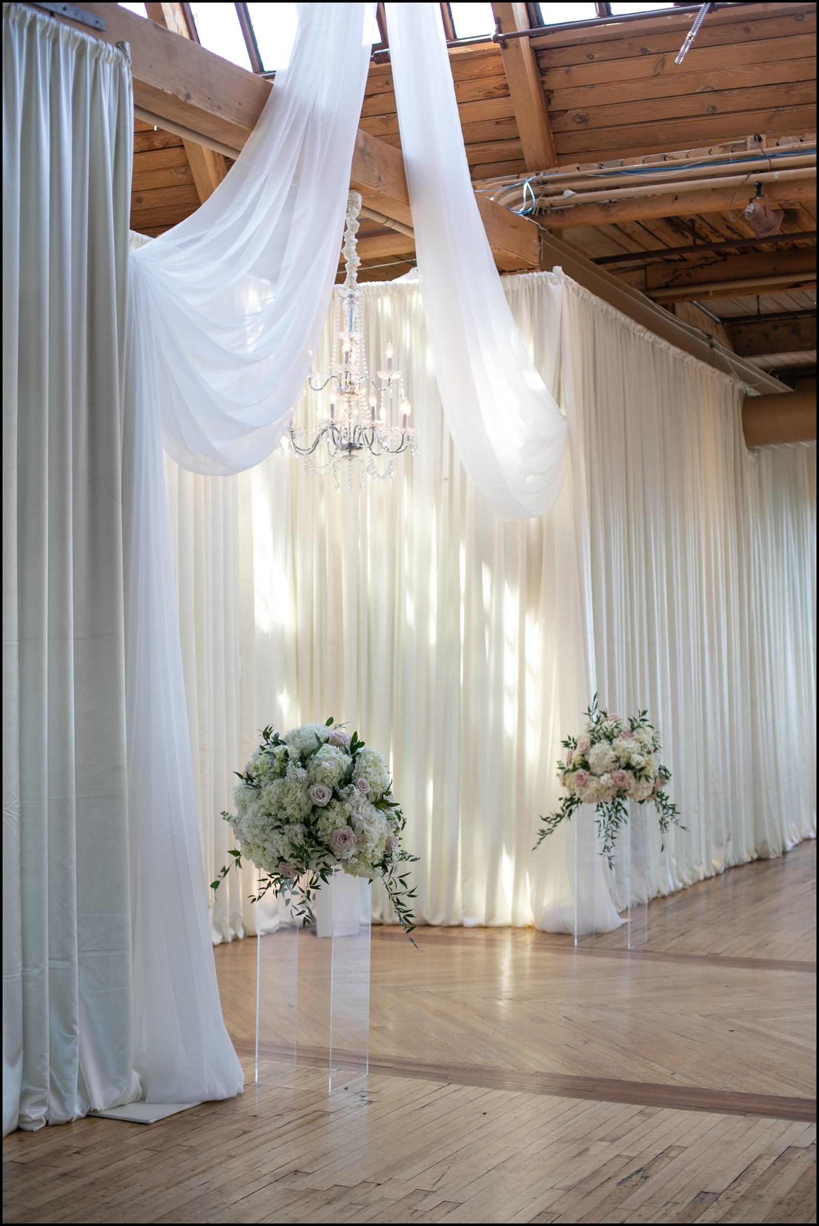 All white wedding arch