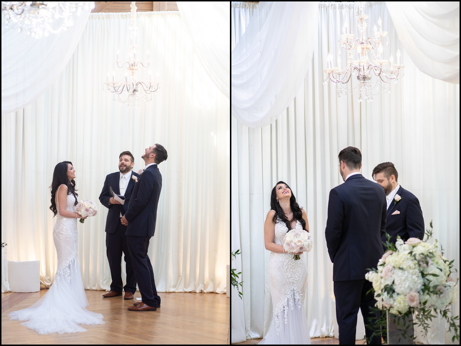 Bride and groom laugh at their wedding ceremony