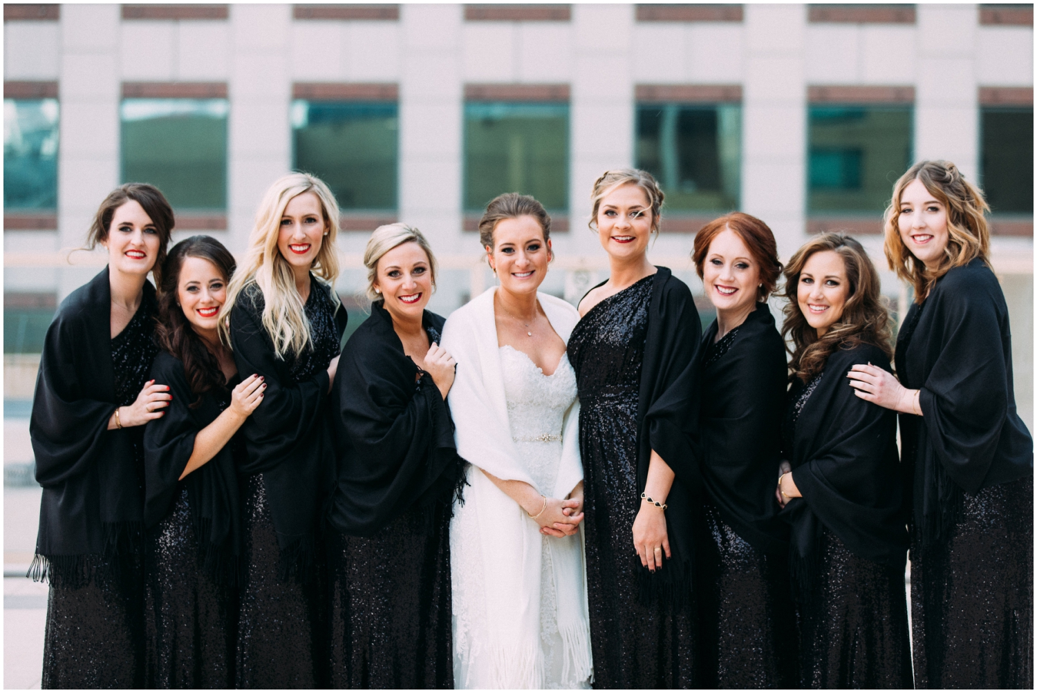 Bride and the bridesmaids ready for the wedding