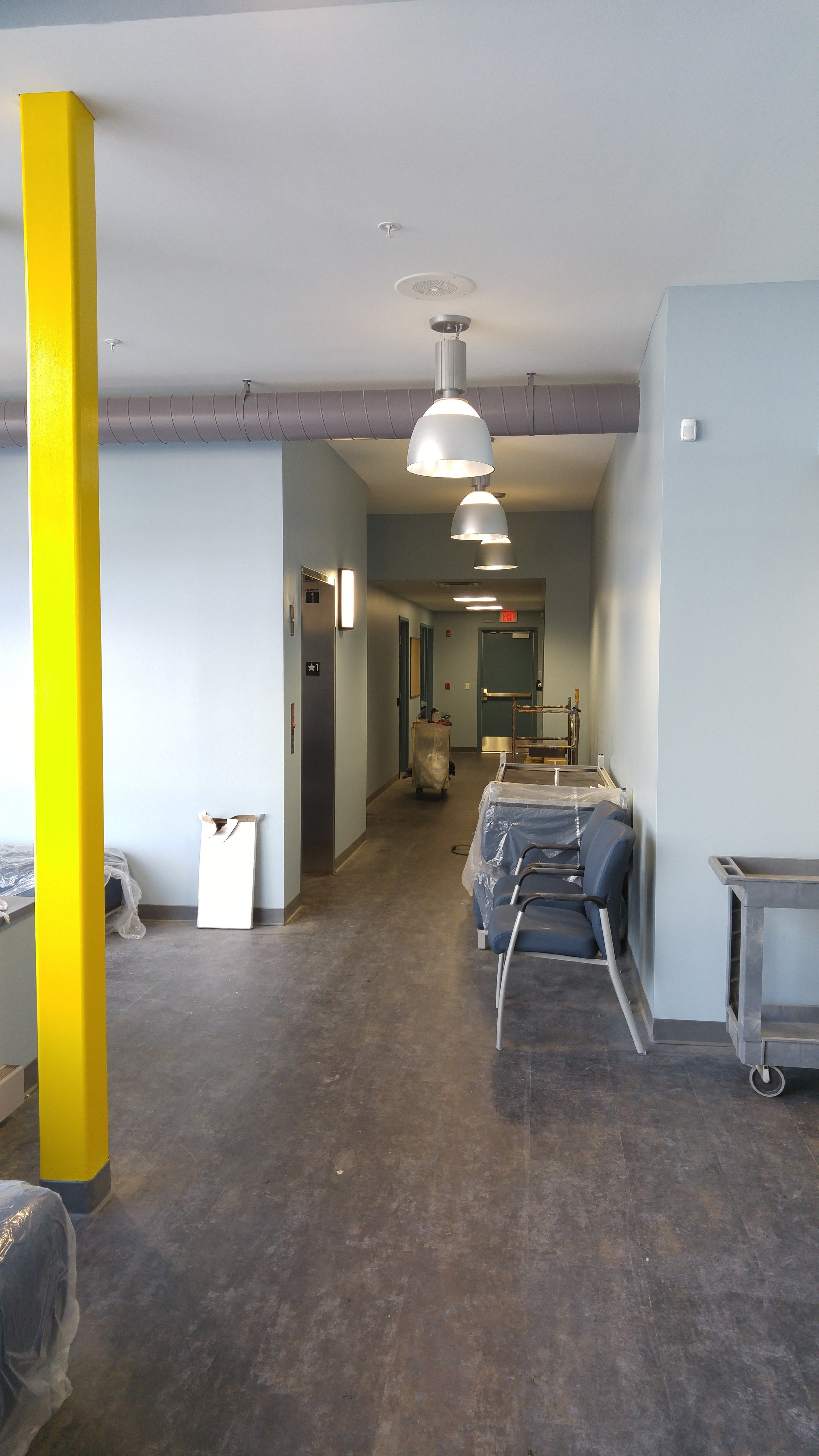 safety yellow painting in medical office building