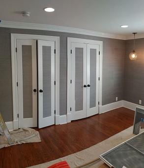 wallpaper hanging and door and trim interiorroom painting