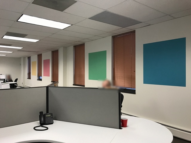 painting company paints business office accent wall painting