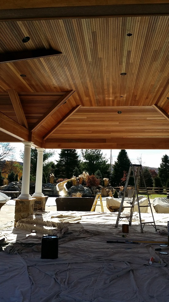 exterior mohagany poolhouse ceiling staining and polyurethane