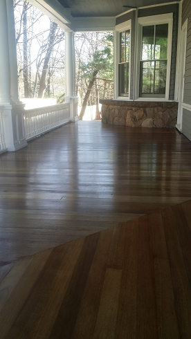 exterior mohagany deck staining