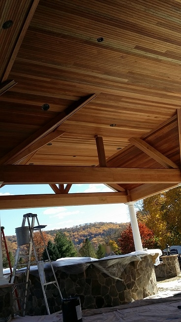 exterior mohagany wood ceiling staining