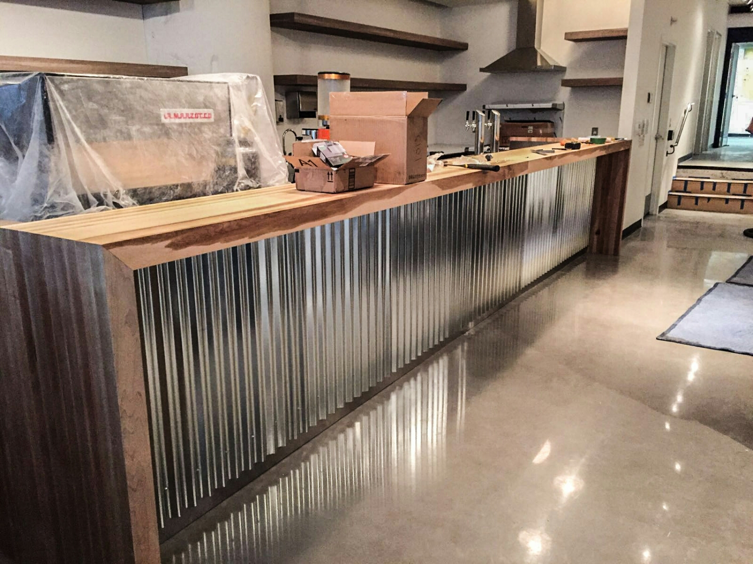 Brown Maple Bar with Galvanized Metal Panel