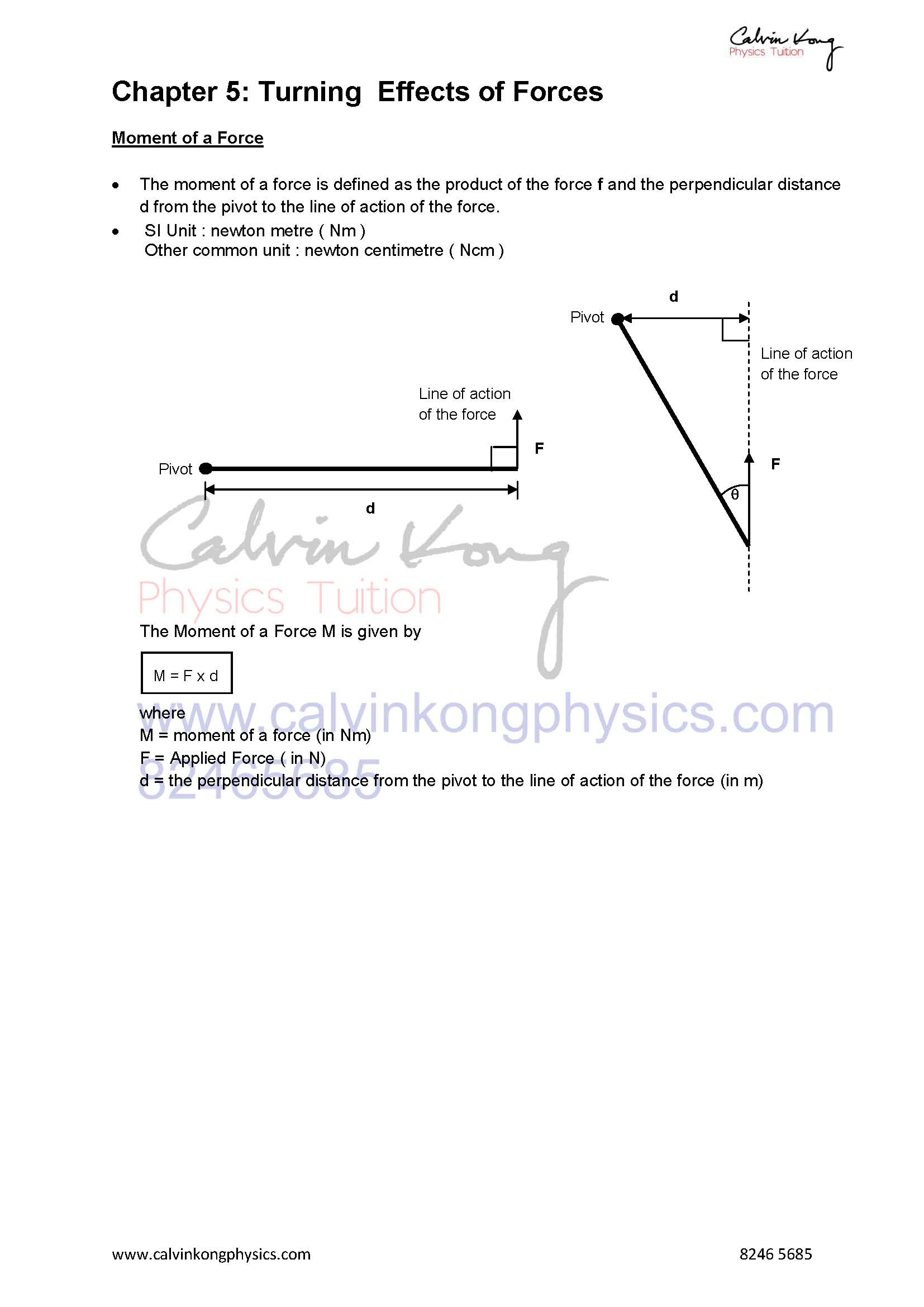 O Level and A Level Physics Tuition Specialist -Revision Notes
