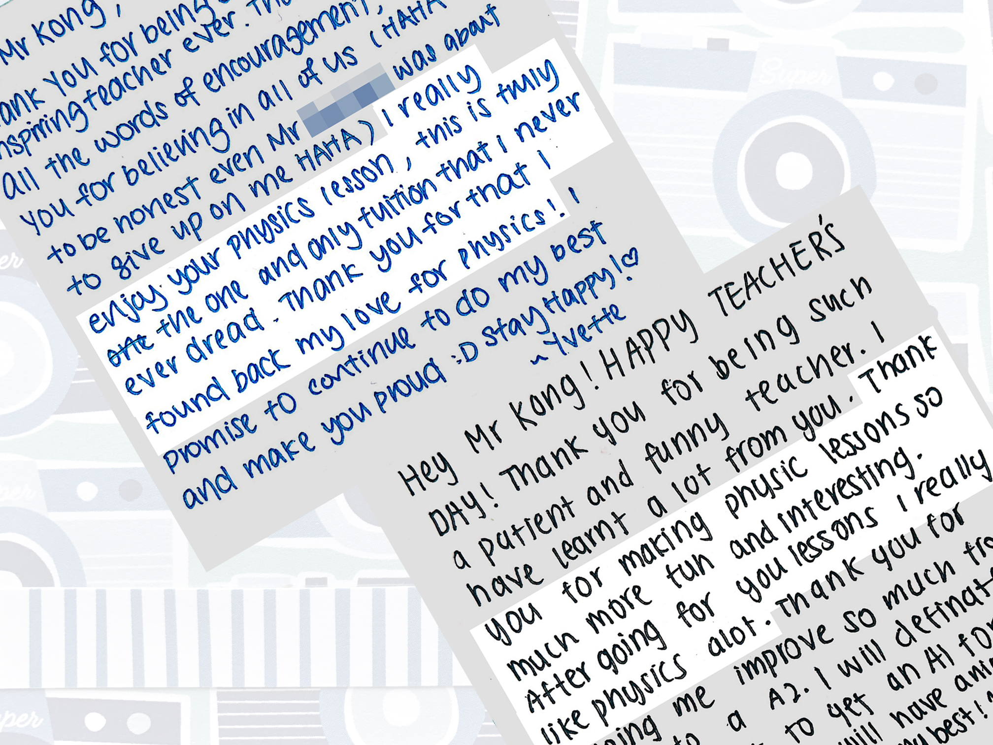 Written messages from Yvette, Nanhua High School and Shane, Jurong Secondary School