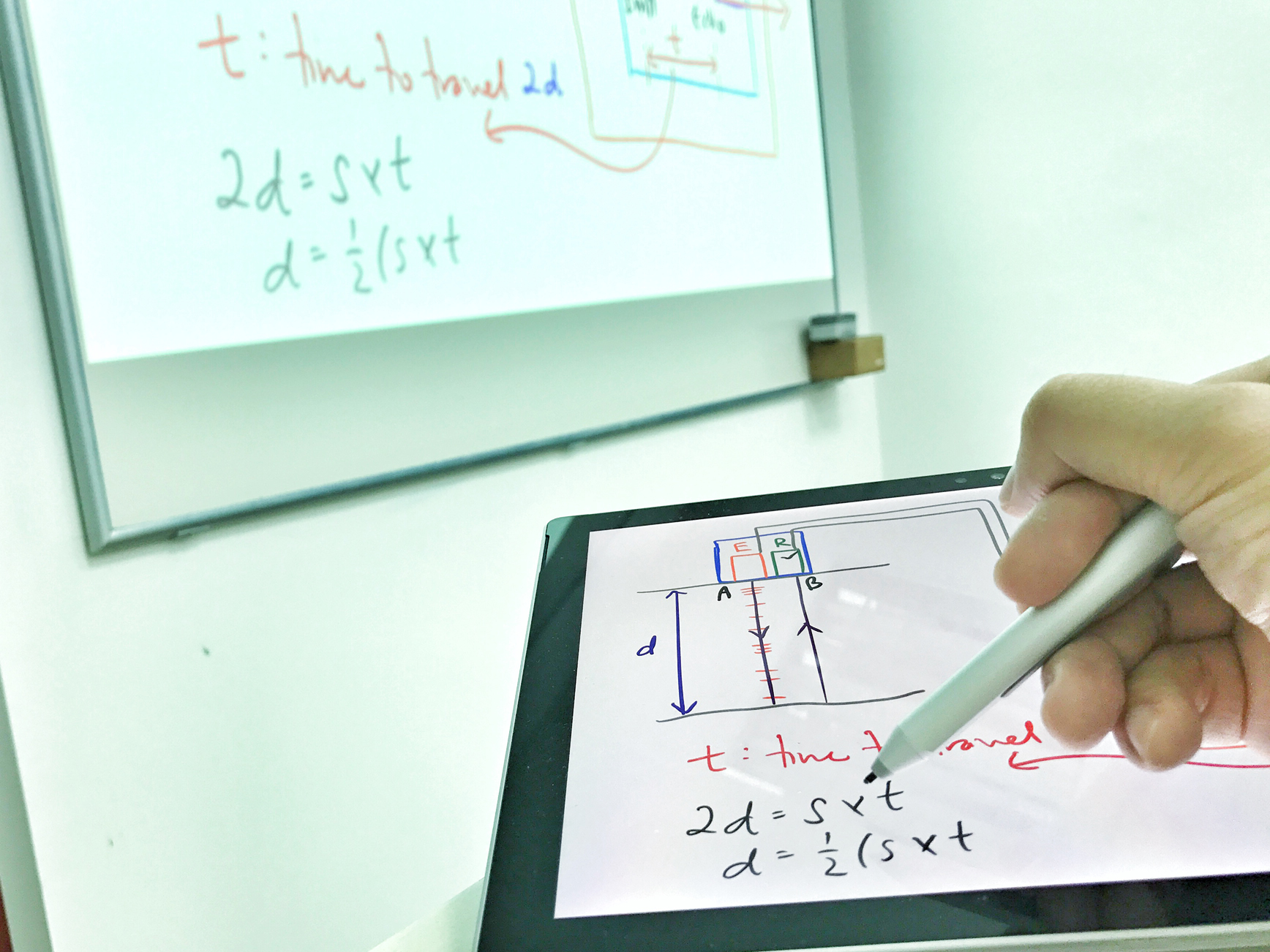 Calvin Kong ditched his whiteboard markers for the  Surface Pro . It allows him to draw colourful illustrations, save the images and send them to his students.