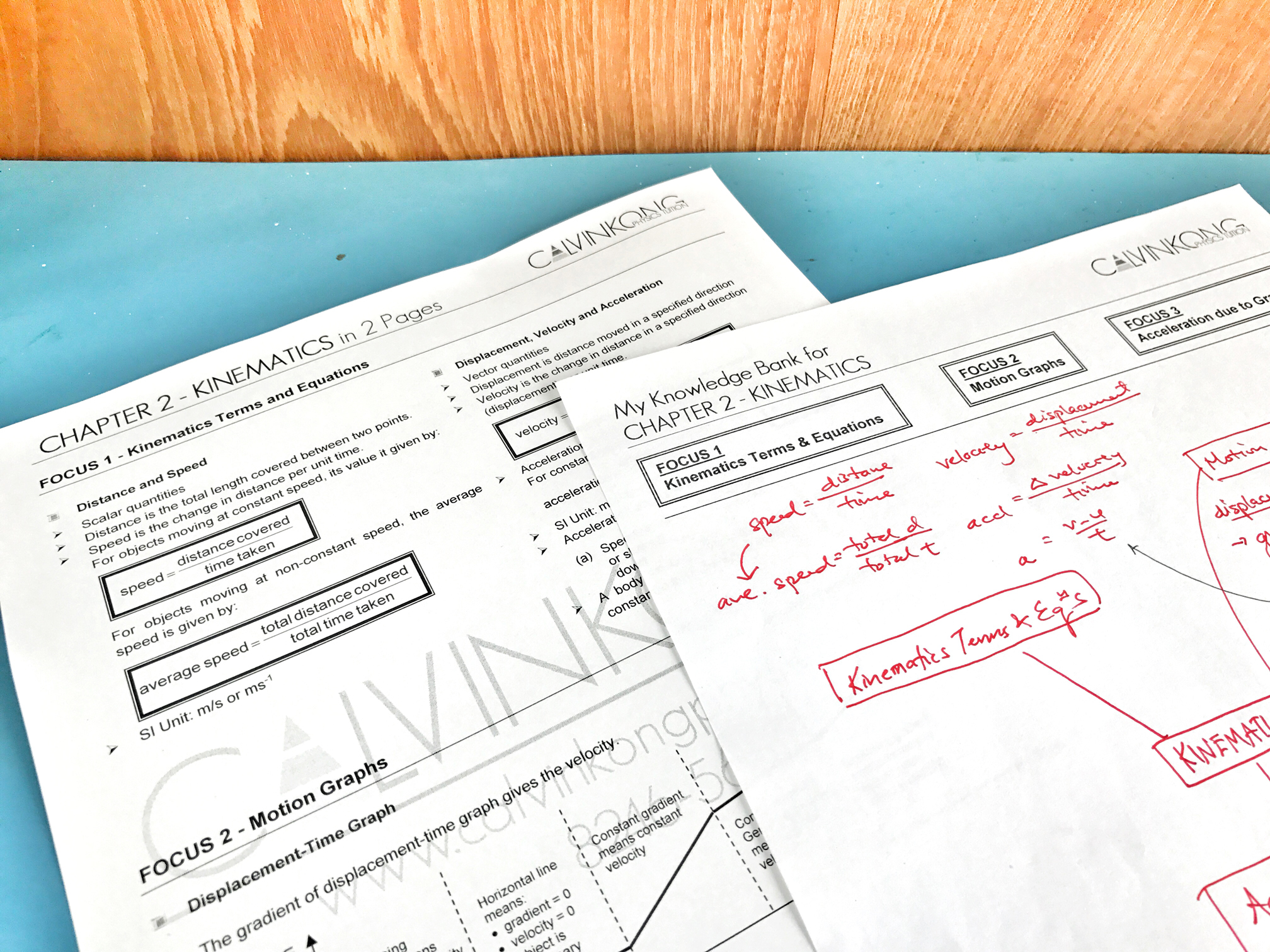 Every student's learning style is unique. This fact can easily be observed in class where some students will just listen intently while others will be taking down notes quickly. Some students prefer to file up their lesson materials by date while others will organised them by topic. There is no right or wrong method but more of a preferred method. Knowing this, Calvin Kong provides a variation of learning resources. For example, apart from his popular 2-Paged Summary for every chapter, he also provides templates for students who prefer to create their own notes.