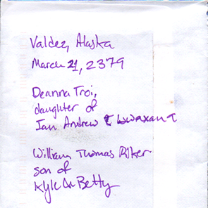 Yes, I scribbled the date and location of Troi and Riker's wedding on the back of an envelope.