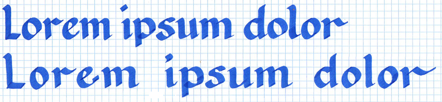This is kerning. Kerning is not my friend. The top line has normal kerning, the bottom line has stretched kerning in order to take up more space.