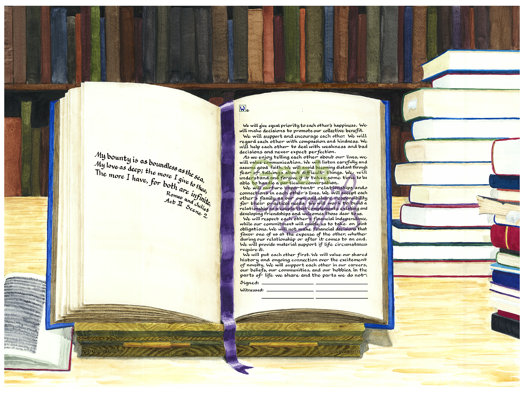 Book Lovers Ketubah by Geek Calligraphy