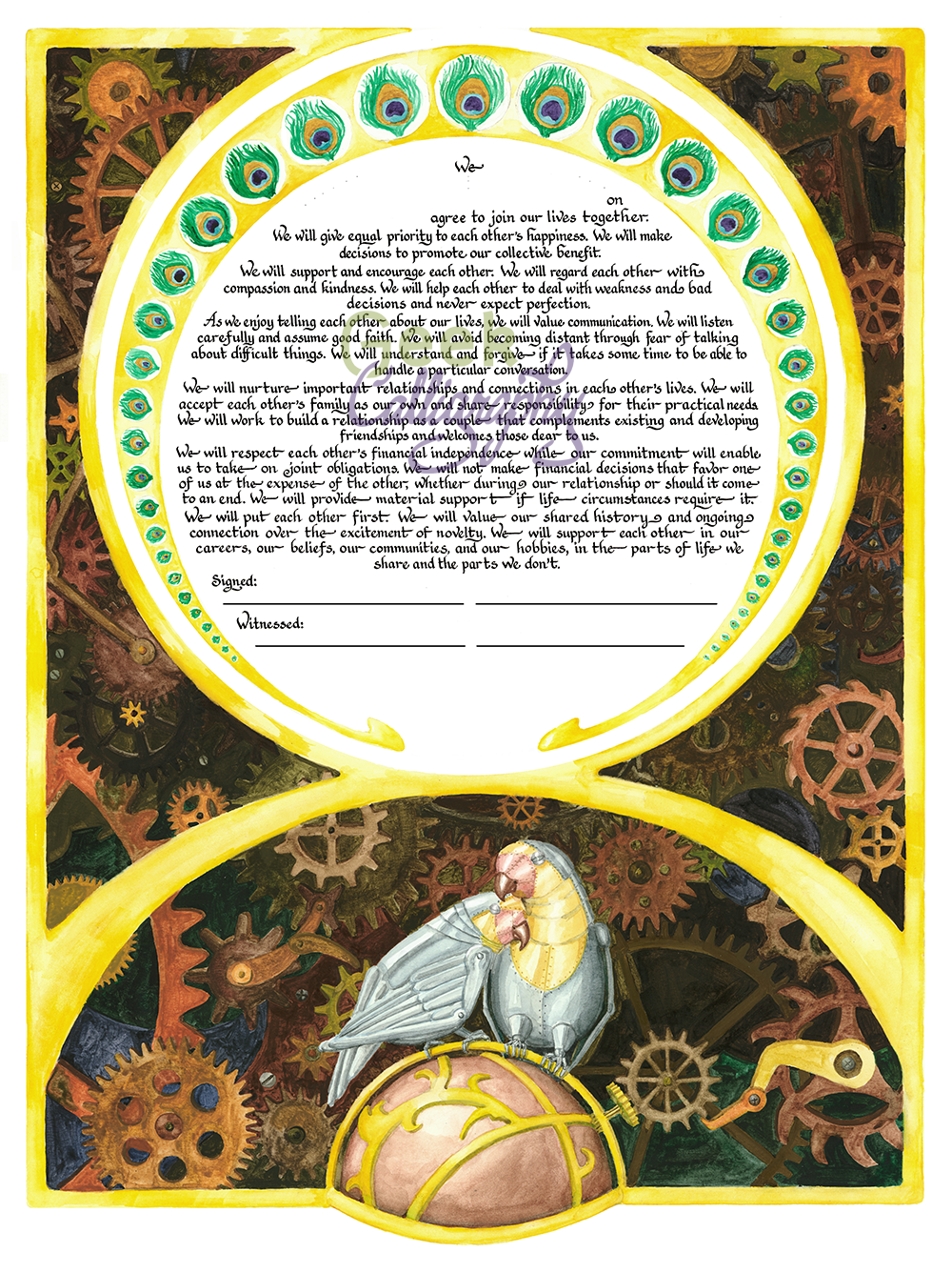 Clockwork Lovebirds Steampunk Ketubah