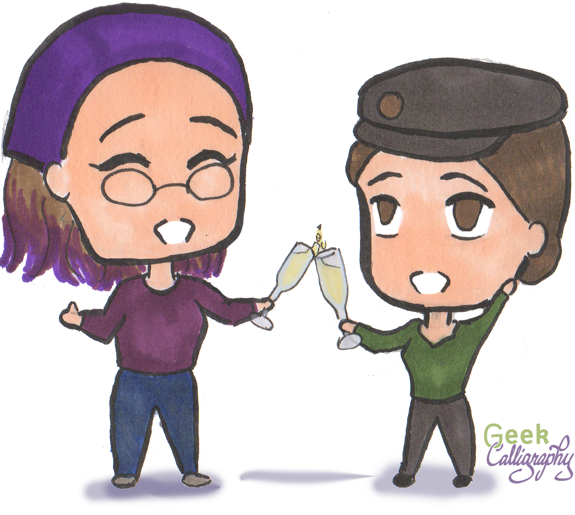 Picture shows chibi Terri and chibi Ariela toasting with champagne flutes. Terri is giving the thumbs up. Not pictured is the next frame, where Ariela is passed out after drinking half a glass of champagne.