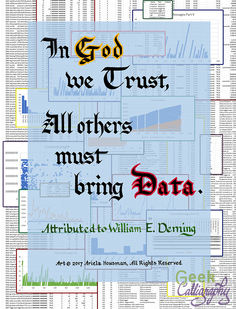 In God We Trust All Others Must Bring Data - Art Print from Geek Calligraphy