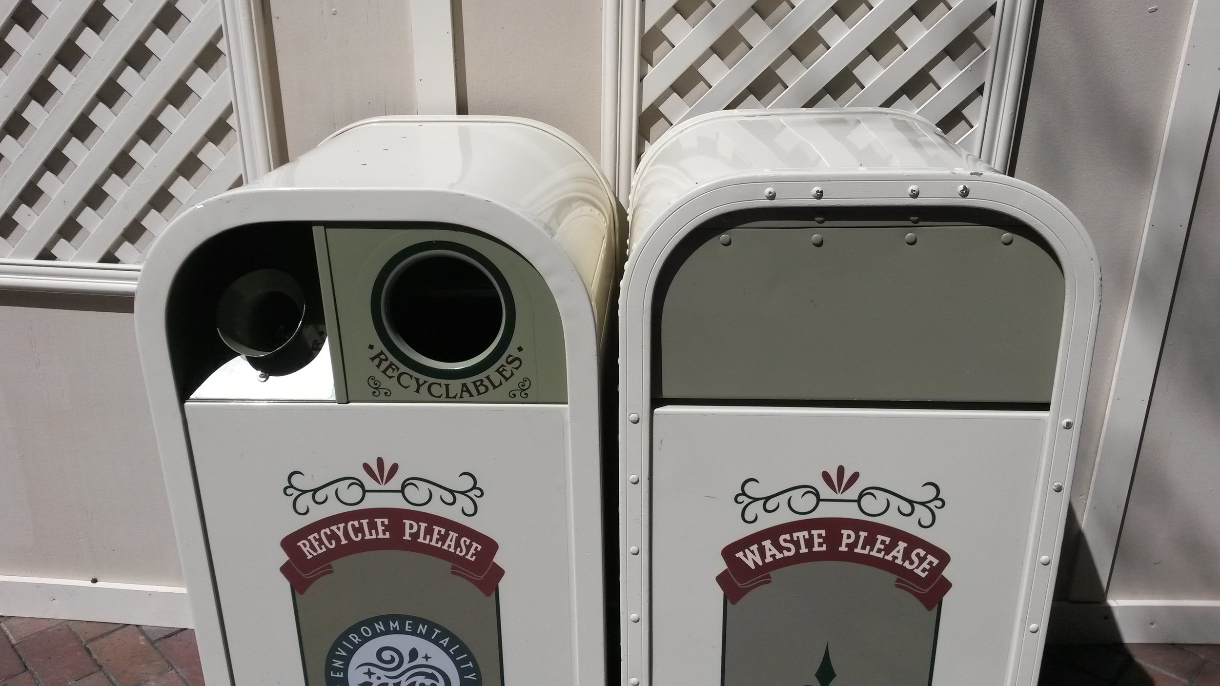 Disposal cans at Main St. USA
