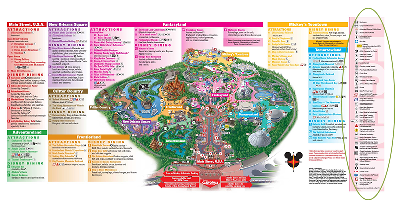 Map of Disneyland with a legend on the right highlighting ALL THE SERVICES. Click to embiggen.