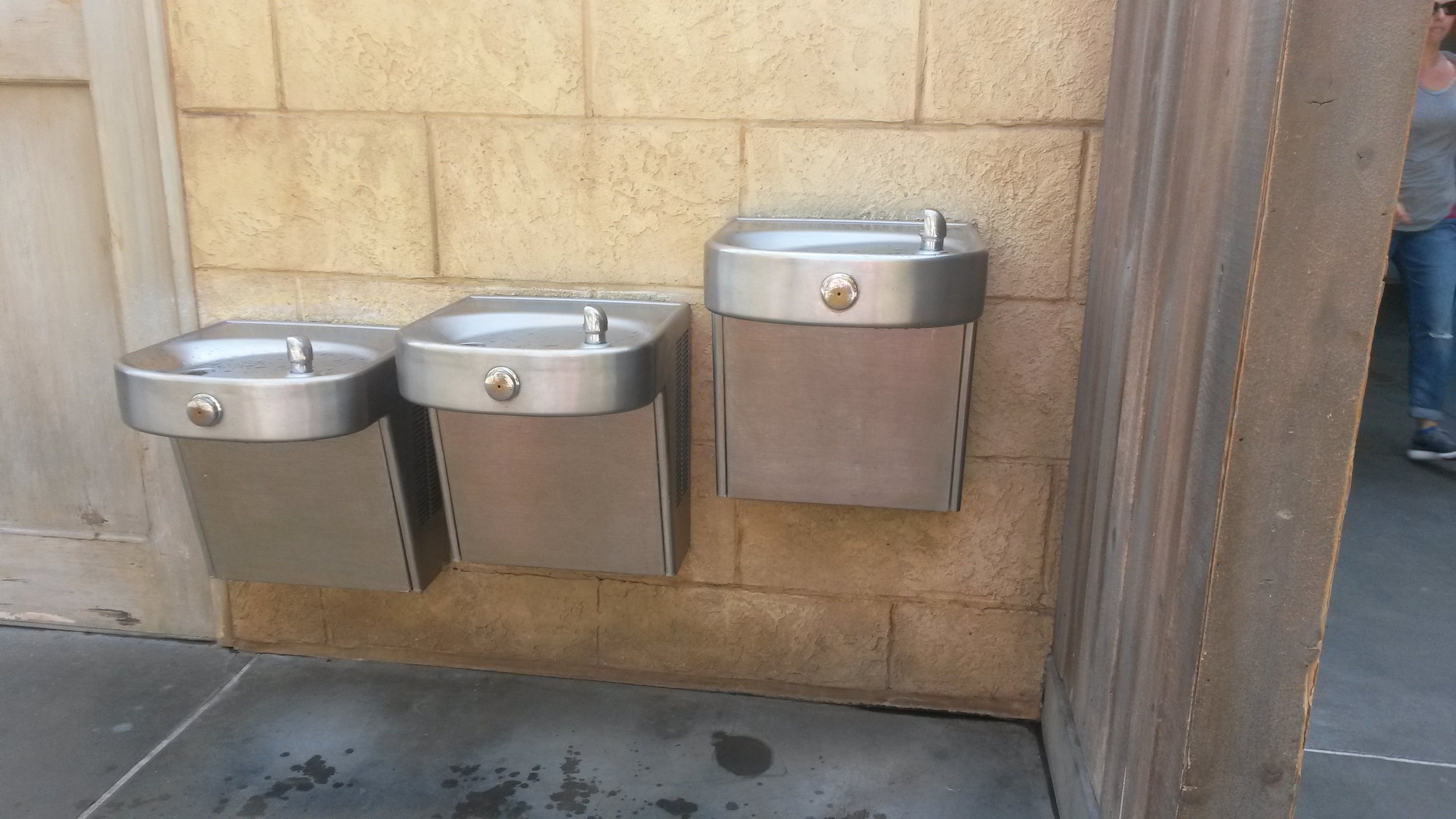 Water fountains for people of all heights in California Adventure.