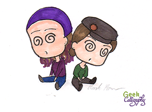 Chibi Ariela and chibi Terri are both very tired. They have the swirly eyes to prove it.