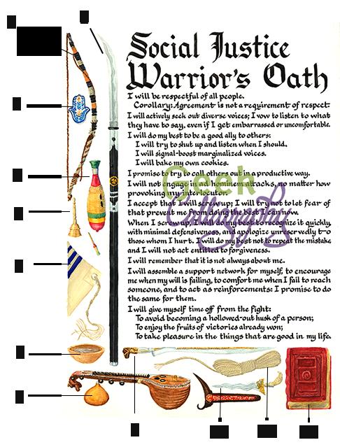 Social Justice Warriors Oath Item Diagram - Geek Calligraphy