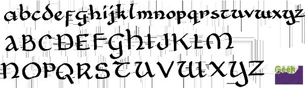 Geek Calligraphy Half Uncial Sample