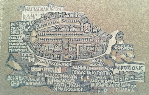 Mosaic map of The Cardo (Roman street in the Old City of Jerusalem.