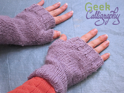 Fingerless mitts designed and knit by Terri. Nine years of hard use and still going strong.
