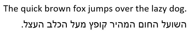 'The quick brown fox jumps over the lazy dog' in English (Calibri) and Hebrew (Arial).
