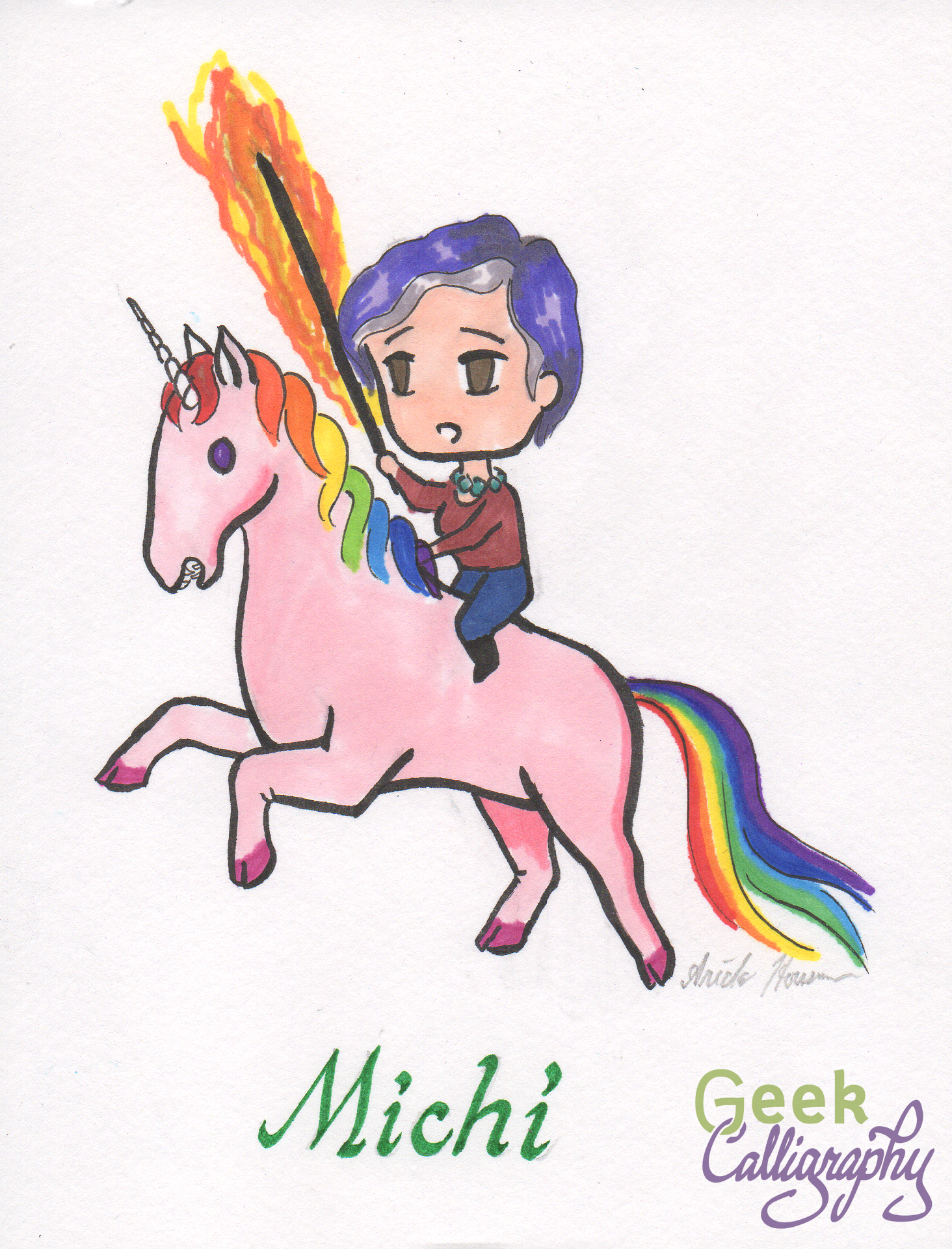 Michi and her Unicorn steed.png