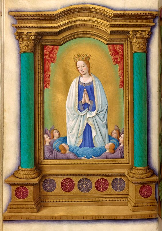 Is this the Daughter of Spring appearing at the spring of Limnos? Or the Assumption of the Virgin Mary?  Holford Hours MS M.732  fol. 56v