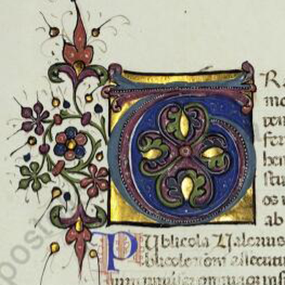 An illuminated inital T - symbols but no picture, note gold leaf Facta et dicta memorabilia, 1500s, Pal. lat. 902 fol. 48v