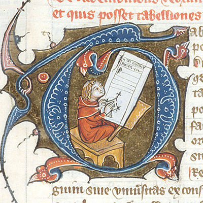An historiated initial T with a picture of a scribe working; no gold, so not illuminated Omne Bonum, c. 1350, BL Royal 6 E VII fol. 514r