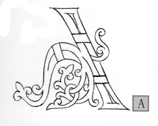 The Otonian capital 'A' from Margaret Morgan's  The Bible of Illuminated Letters.  Note the lack of left leg.