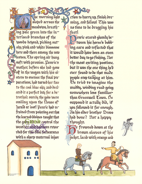 """Penric's Demon"" Illuminated First Page From the novella ""Penric's Demon"" by Lois McMaster Bujold. Licensed by Lois McMaster Bujold."