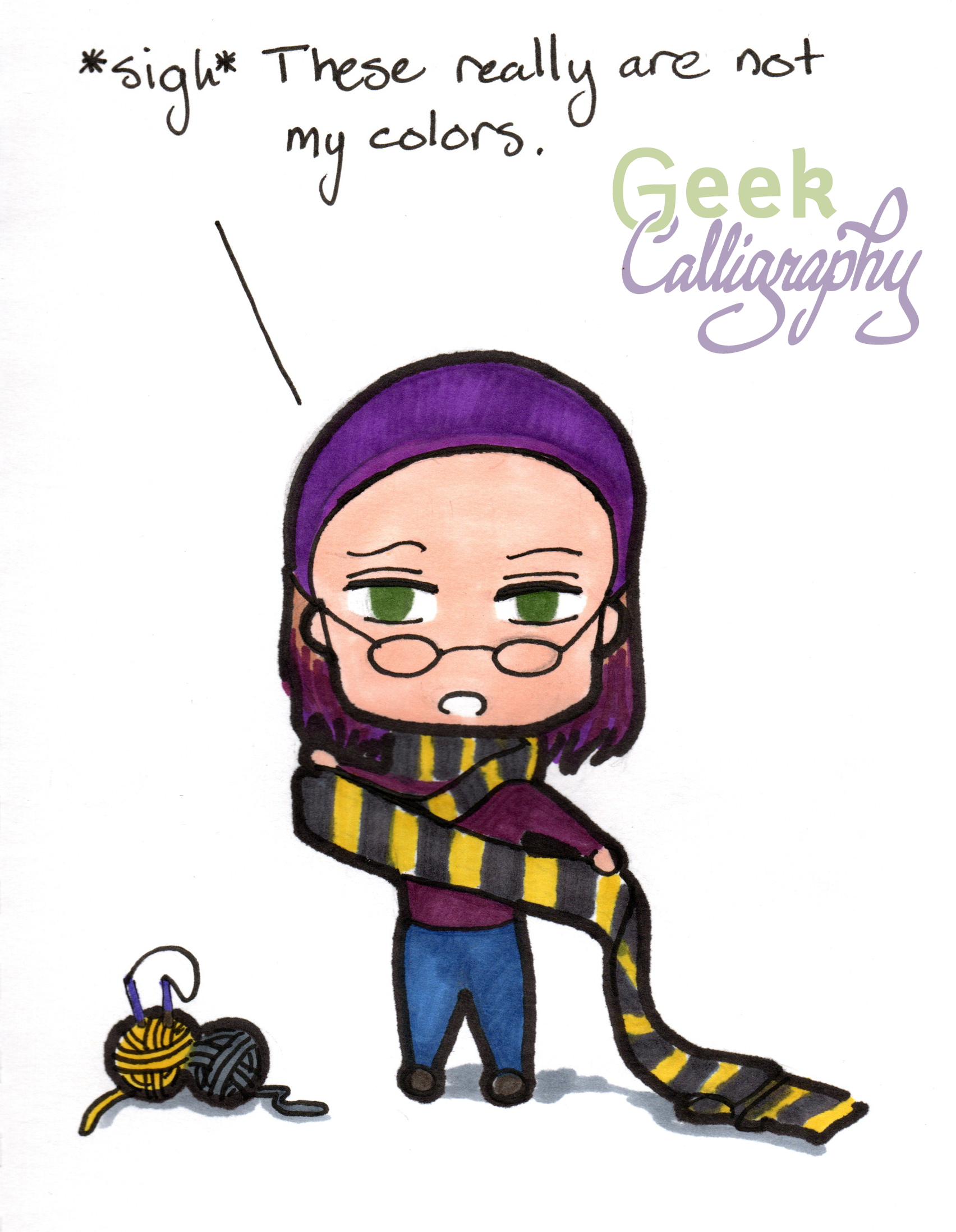 """Chibi Terri holds out her Hufflepuff scarf and muses, """"*sigh* These are really not my colors."""""""