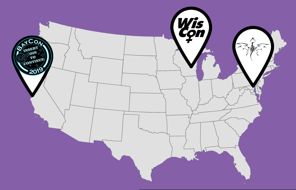 Location markers in San Francisco, CA with the BayCon logo; Madison, WI with the WisCon logo; and Baltimore, MD with the Balticon logo