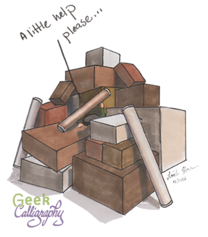 """Chibi Ariela is buried under boxes, just a hand protruding, saying """"A little help, please?"""""""