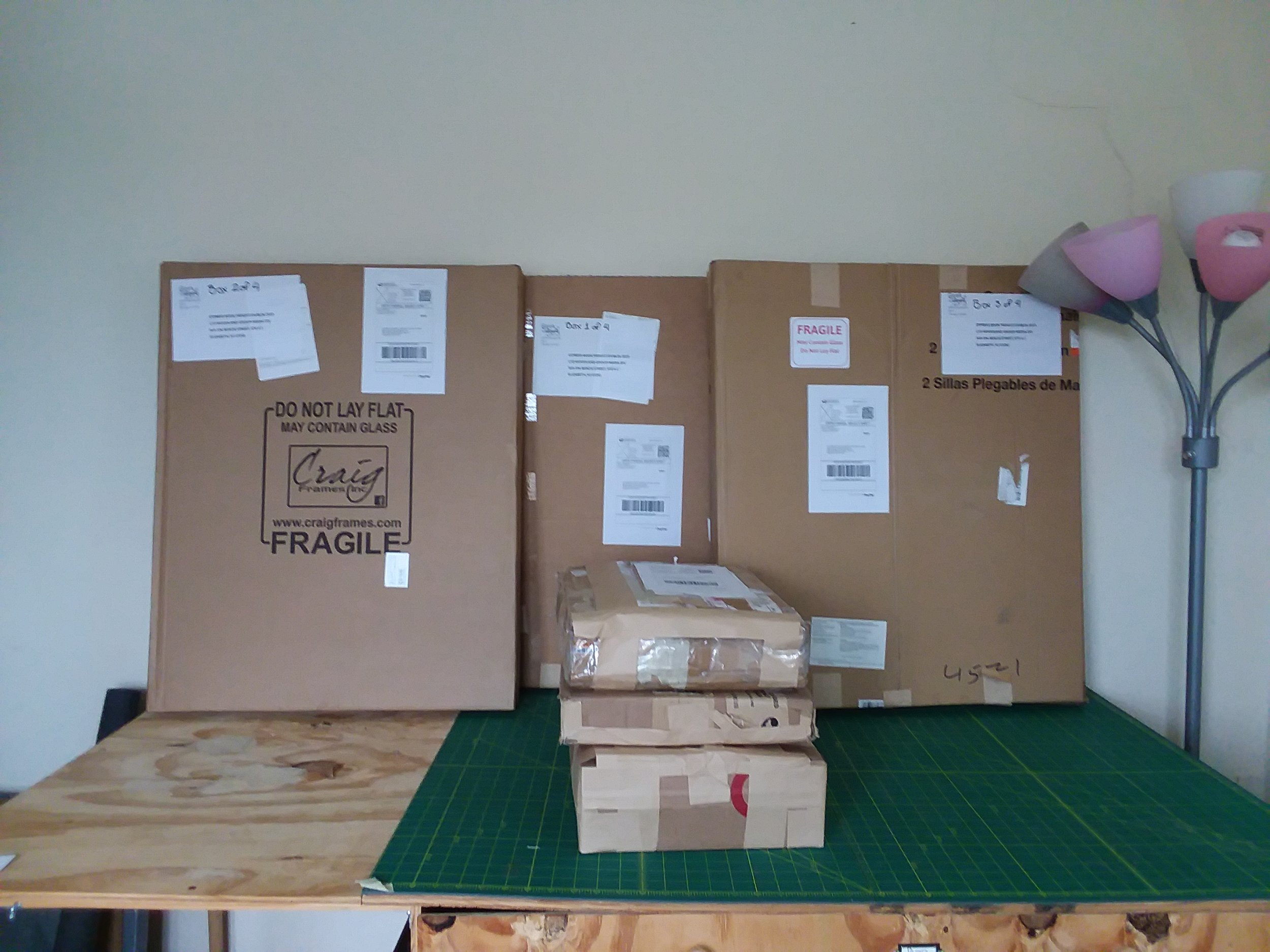 "Pictured above: Three packages of about 30""x23""x2"" and three smaller packages, totaling around 44lbs together."