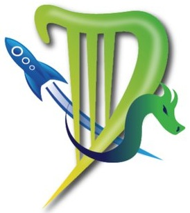 The logo for Dublin 2019. It features a D stylized to look like a harp, a rocketship and a dragon.